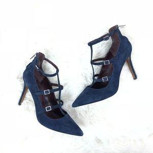 BGBGENERATION pumps suede blue ankle strap heels